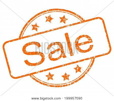 orange Sale rubber stamp on white background - illustration