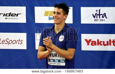 Hong Kong China - Oct 30 2016. Competitive swimmer Gergely GYURTA (HUN) at the Victory Ceremony of the Men's Freestyle 1500m. FINA Swimming World Cup Victoria Park Swimming Pool.
