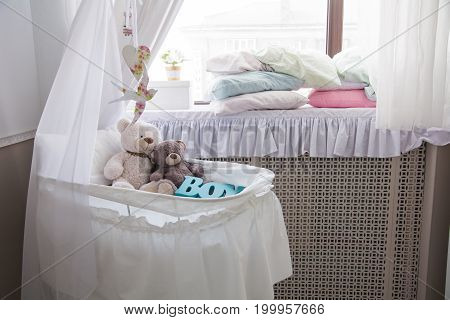 Baby Cot With Teddy Bears In The Room