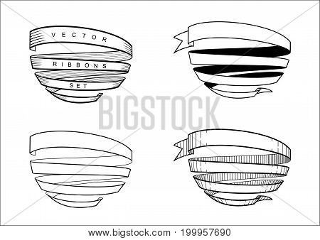 Set of vintage spiral ribbons in engraving technique. Vector graphics