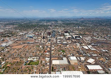 Aerial view from south to north up Central Avenue of Phoenix Arizona and the Valley of the Sun