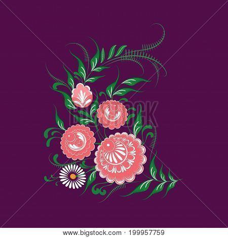 Slavic Folk Traditional Vegetable Pattern. Corner Ornament Of Roses And Chamomiles