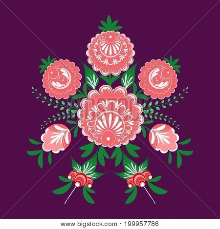 Slavic Folk Traditional Vegetable Pattern. Circular Ornament Of Roses And Berries