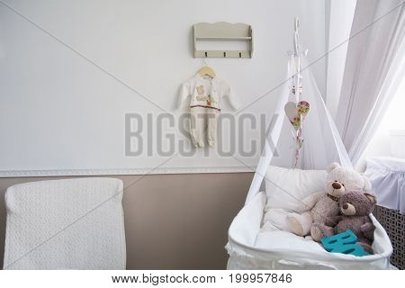Interior Of A Nursery With A Crib For A Baby