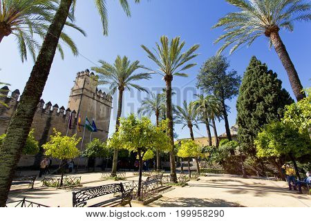 Outside The Alcazar De Los Reyes Cristianos In Cordoba,