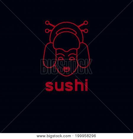 Logo sushi. Icon of Japanese cuisine. Line head geisha. Vector illustration