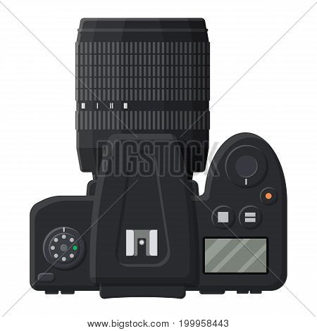 Modern photo camera. Professional device for phototrophs. Vector illustration in flat style