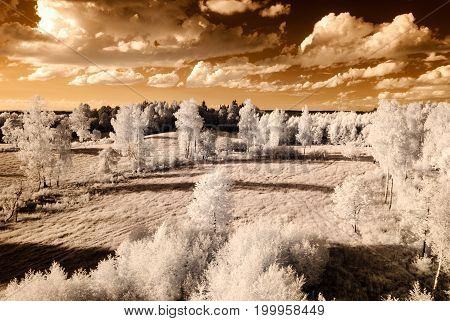 Countryside Fields And Forests. Infrared Image
