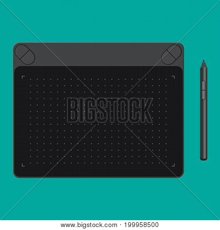 Graphic tablet. Tab and pen. Digital device to draw for designers and illustrators. Vector illustration in flat style