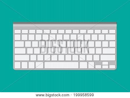 Modern aluminum computer keyboard. Wireless input device. Vector illustration in flat style