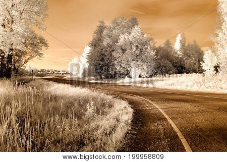 Countryside Gravel Roads. Infrared Image