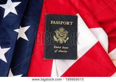 USA passport on The US flag background