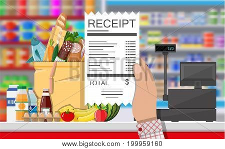 Supermarket store interior with goods. Hand with receipt. Interior store inside. Checkout counter with cash register, grocery, drinks, food, fruits, dairy products. Vector illustration in flat style