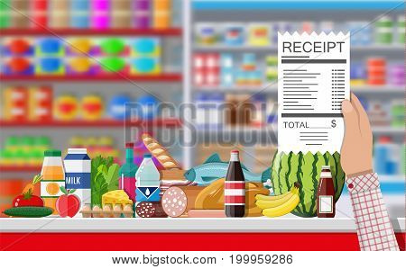 Supermarket store interior with goods. Hand with receipt. Big shopping mall. Interior store inside. Checkout counter, grocery, drinks, food, fruits, dairy products. Vector illustration in flat style