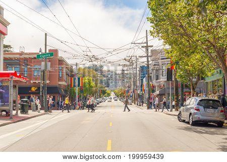 SAN FRANCISCO USA - July 04 2017: Castro District Rainbow Crosswalk Intersection - San Francisco California USA