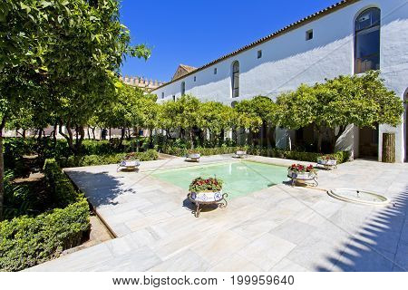 Yard Of The Palace Fortress Of The Christian Kings, Alcazar De Los Reyes Cristianos In Cordoba, Anda
