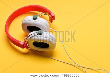 Hobby, Leisure And Music Concept. Modern And Stylish Earphones