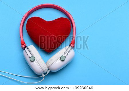 Headset For Music And Love Symbol. Headphones In White, Red