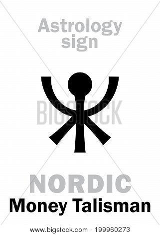 Astrology Alphabet: Nordic TALISMAN of money. Hieroglyphics character sign (single symbol).