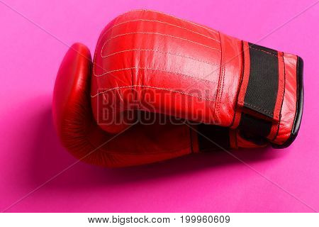 Bright Red Boxing Sport Gloves With Stripes Isolated On Pink
