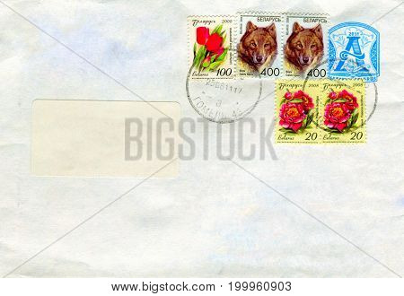 GOMEL, BELARUS - AUGUST 12, 2017: Old envelope which was dispatched from Belarus to Gomel, Belarus, August 12, 2017.