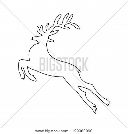 Reindeer contour icon for Christmas. Vector illustration for a site
