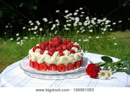 Colorful garden table with strawberry cake and summer flowes