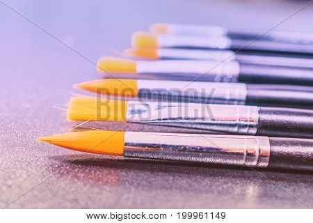 Close up of paint  brushes. art and painting background