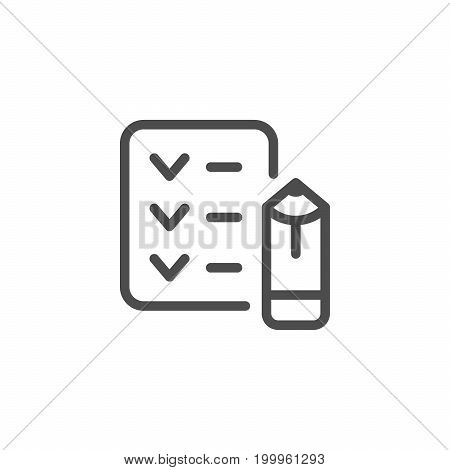Checklist line icon isolated on white. Vector illustration