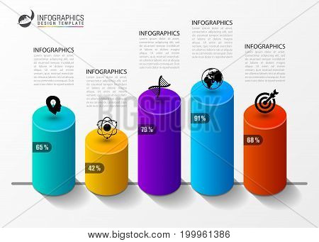 Infographic design template. Columns and percents. Vector illustration