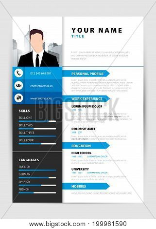 Personal Resume. Modern template in blue style. Vector illustration