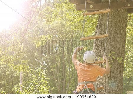 Boy climbs a tree in an active recreation park