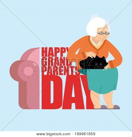 Grandparents Day. Day Of Grandmother And Grandfather. Grandma With Cat. Holiday Of An Elderly Person