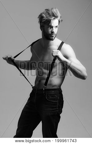 Handsome bearded man fit macho with muscular torso poses in blue jeans and suspenders on grey background