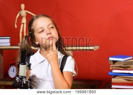 Kid And School Supplies, Red Background. Schoolgirl With Cunning Face