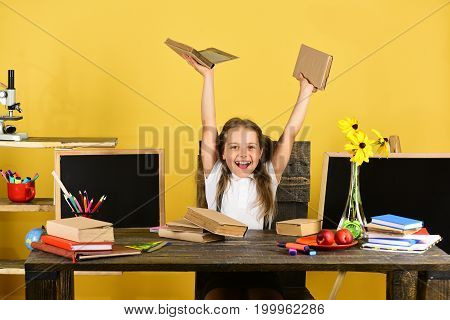 Childhood And Back To School Concept. Girl Sits At Desk