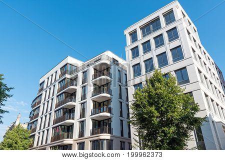 Modern luxury apartment houses seen in Berlin, Germany