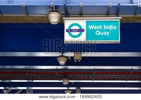 West India Quay Dlr Station Sign