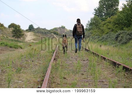Travel between master and dog along the old rails