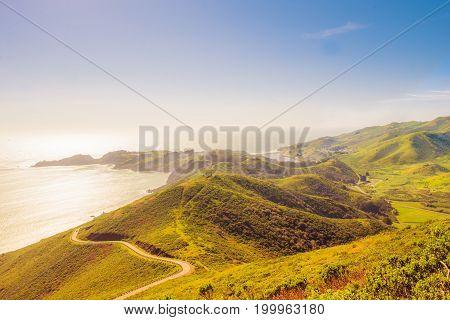 American tradicional landscape and Ocean Pacific CA EUA