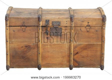 isolated old portmanteau with lock in light wood