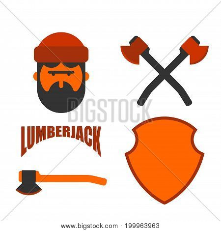 Lumberjack Icon Set. Woodcutter Sign. Lumberman Symbol. Feller With Beard And Axes.