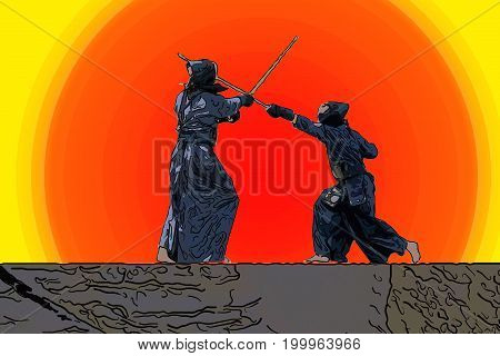 illustration of Japanese kendo fighters with bamboo swords