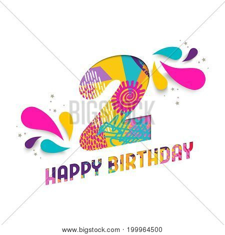 Happy Birthday 2 Two Year Paper Cut Greeting Card