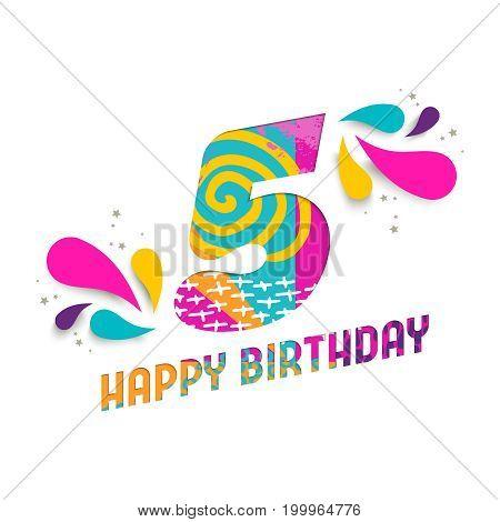 Happy Birthday 5 Year Paper Cut Greeting Card