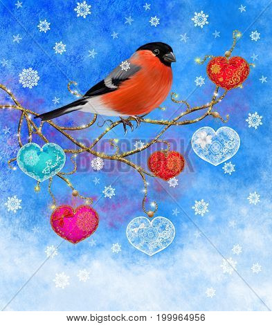 Christmas winter background. Bright bird bullfinch sitting on a branch. Decor in the form of openwork lace hearts.