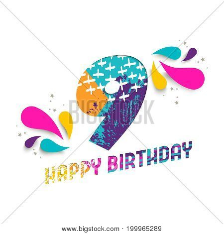 Happy Birthday 9 Year Paper Cut Greeting Card