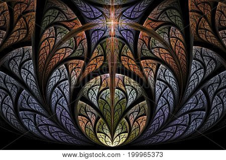 Abstract multicolored illustration on a dark background. Background design