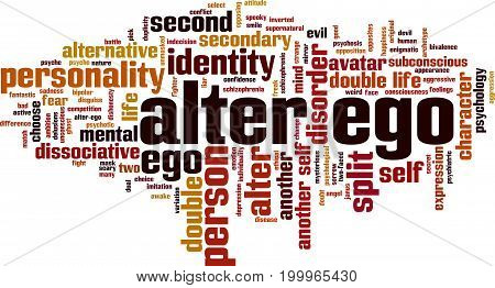 Alter ego word cloud concept. Vector illustration on white