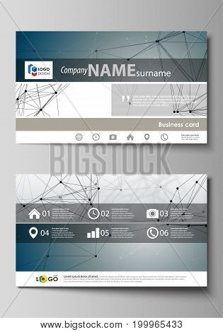 Business card templates. Easy editable layout, abstract vector design template. DNA and neurons molecule structure. Medicine, science, technology concept. Scalable graphic